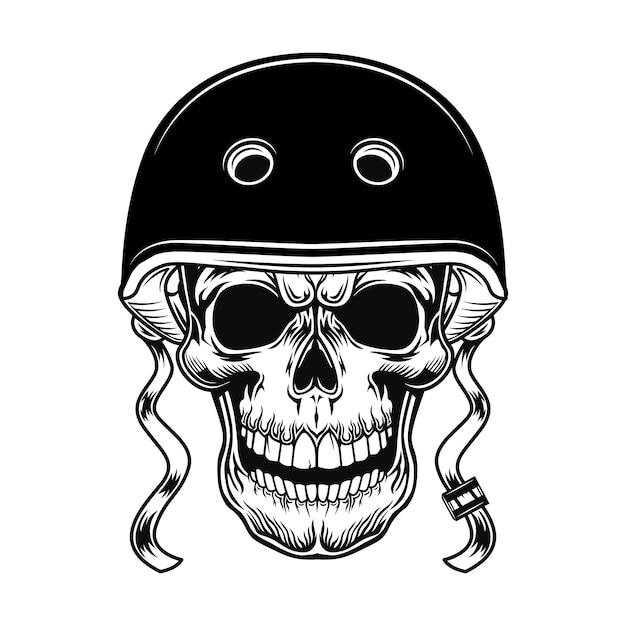 Schedel van biker vectorillustratie. hoofd van karakter in helm voor motorrijden