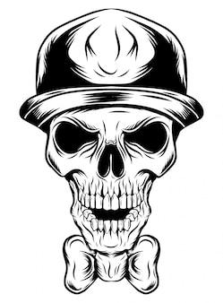 Schedel van een clown in een hoed van illustratie