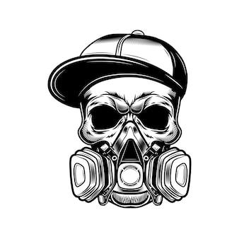 Schedel van graffitikunstenaar vectorillustratie. hoofd van skelet in gangster glb en gasmasker. straatkunst concept