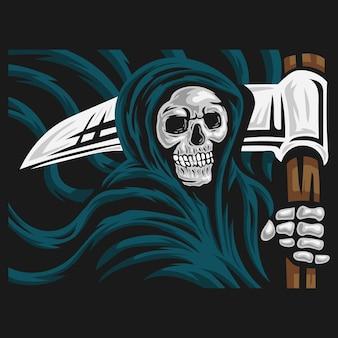 Schedel van grim reaper met het sikkellogo.