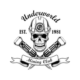 Schedel van mijnwerker vectorillustratie. hoofd van skelet in helm met zaklamp, gekruiste drilboorplectra en tekst. kolenwinning tools concept logo