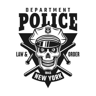 Schedel van politieagent, twee gekruiste wapenstokken en tekst politie
