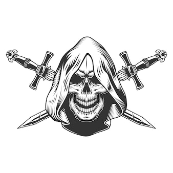 Schedel van reaper in capuchon