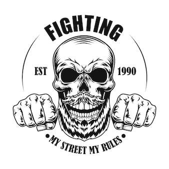 Schedel van straatvechter vectorillustratie. hoofd en vuisten van stripfiguur met tekst