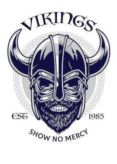 Schedel van viking-krijger in t-shirtontwerpstijl