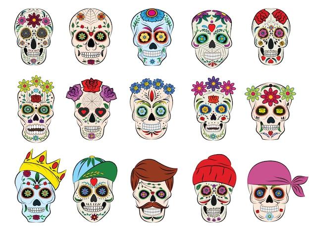 Schedel vector mexicaanse gebloemde dood hoofd en bloeiende gekruiste beenderen en menselijke tatoeage illustratie dikgerekte set horror symbool van dood of kwaad in mexico geïsoleerd