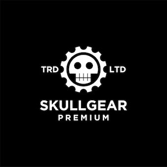 Schedel versnelling vintage logo pictogram illustratie premium vector