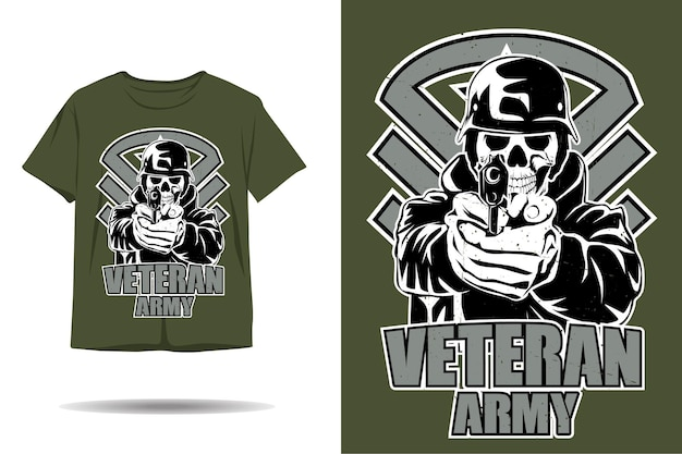 Schedel veteraan leger silhouet tshirt ontwerp
