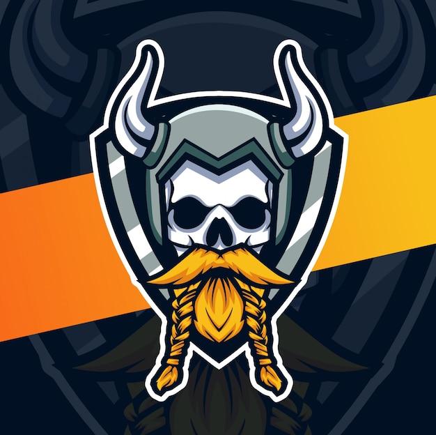 Schedel viking hoofd mascotte esport logo ontwerp