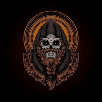 Schedel viking illustratie premium vector, perfect voor t-shirt