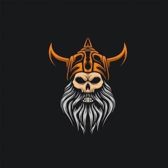 Schedel viking logo ilustration