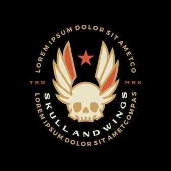 Schedel vleugels badge t-shirt tee merch logo vector pictogram illustratie