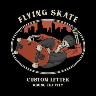 Schedel vliegende skateboards bij het rijden door de stad