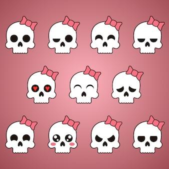 Schedel vrouwelijke platte emoji