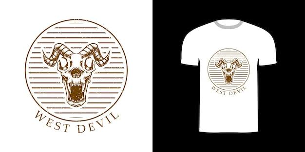 Schedel west duivel grunge illustratie met voor t-shirt