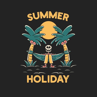 Schedel zomer strandvakantie grafische illustratie art