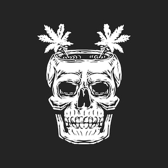 Schedelbot met cannabis op het hoofdlogo.
