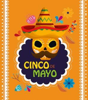 Schedeldecoratie met hoed aan mexicaanse gebeurtenisviering