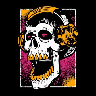 Schedelhoofd luisteren naar muziek in hoofdtelefoons