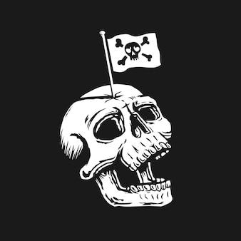 Schedelhoofd met piratenvlag op het hoofd.