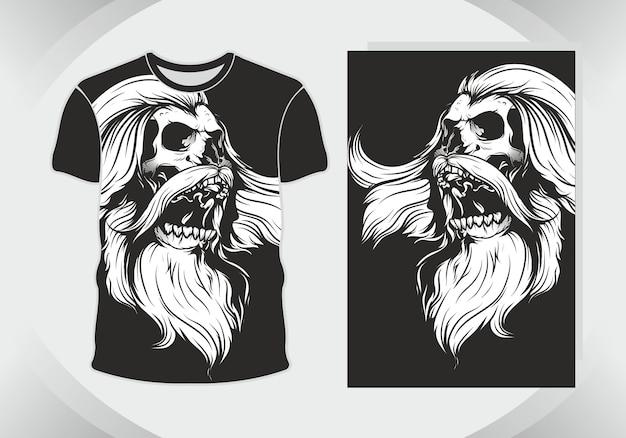 Schedelillustratie en t-shirt