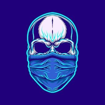 Schedelillustratie met een masker in retro neonstijl
