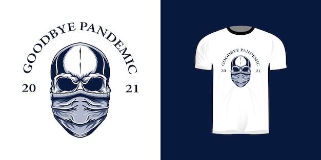Schedelillustratie met een masker voor het t-shirtontwerp