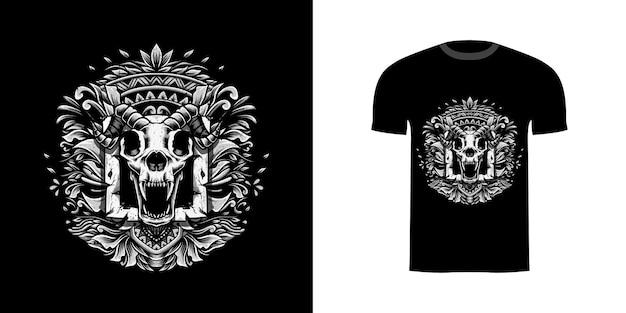 Schedelillustratie met gravureornament voor t-shirt