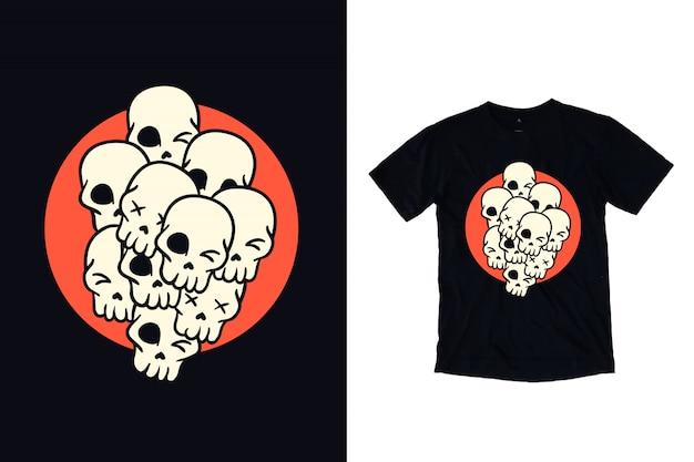Schedelillustratie voor t-shirtontwerp
