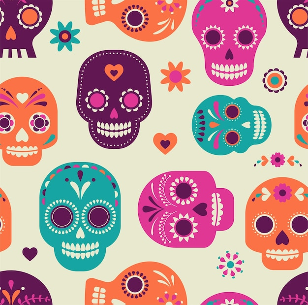 Schedelpatroon mexicaanse dag van de doden