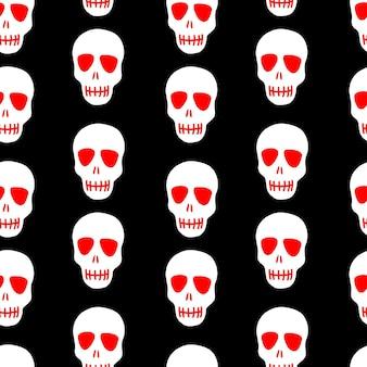 Schedelpatroon witte schedel op een zwarte achtergrond