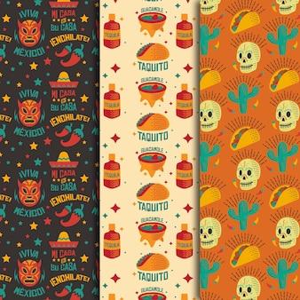 Schedels en burrito naadloos patroon