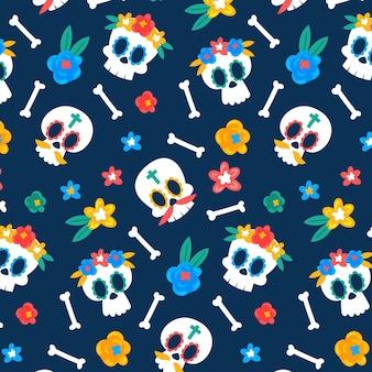 Schedels met bloemen dag van het dode patroon sjabloon
