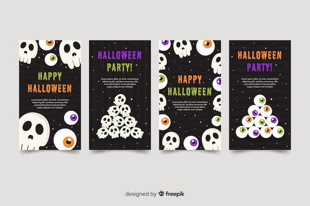 Schedels voor halloween instagram-verhalencollectie