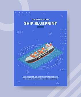 Scheepsblauwdrukconcept voor sjabloonbanner en flyer met isometrische stijl