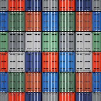 Scheepscontainers. export en vracht, rij naadloos patroon, transport industrieel, importtransport.
