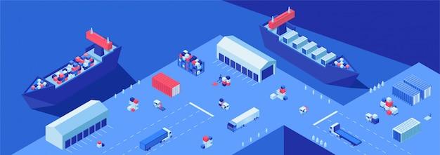Scheepswerf isometrische platte vectorillustratie. transport van zendingen, import en export bedrijf, maritieme bezorgservice.