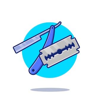 Scheermesje cartoon pictogram illustratie. barber shop tools icon concept geïsoleerd. platte cartoon stijl