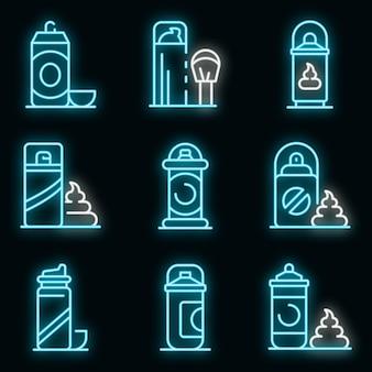 Scheerschuim pictogrammen instellen. overzicht set scheerschuim vector iconen neon kleur op zwart
