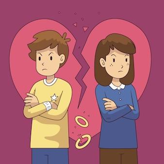Scheidingsconcept met verstoord paar