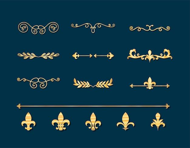 Scheidingslijnen ornamenten gouden stijl icoon collectie ontwerp van decoratief element thema