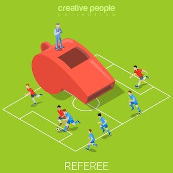 Scheidsrechter fluit voetbal voetbal plat isometrische sport