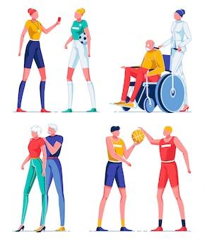 Scheidsrechter, man in rolstoel, basketbal spelen.