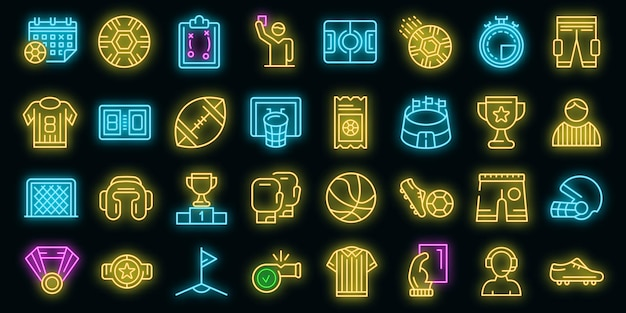 Scheidsrechter pictogrammen instellen. overzicht set scheidsrechter vector iconen neon kleur op zwart