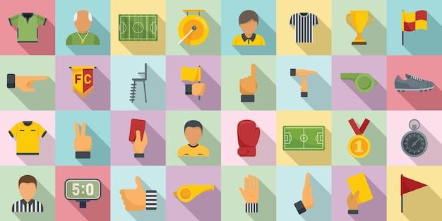 Scheidsrechter pictogrammen instellen platte vector. voetbal scheidsrechter. voetbalwedstrijd