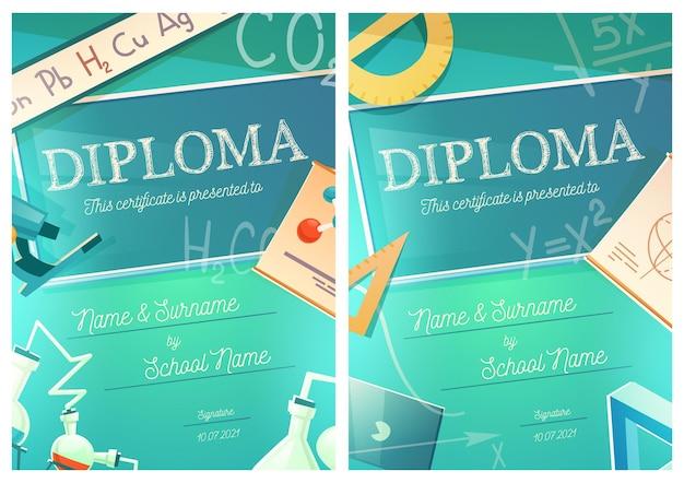 Scheikunde en wiskunde wetenschap diploma sjabloon