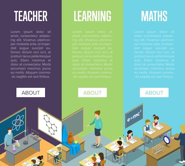 Scheikunde, kunst en wiskunde lessen op school