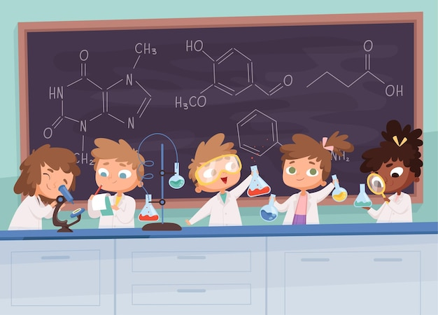 Scheikunde lab. wetenschap jongen en meisjes tiener leren onderzoek verwerkt tekens cartoon achtergrond.