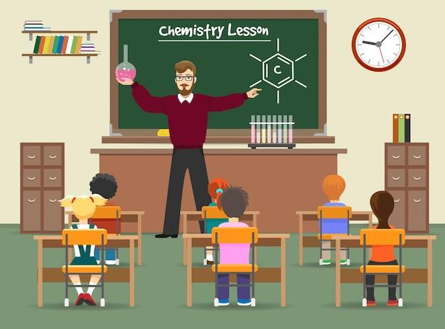 Scheikunde les klas illustratie