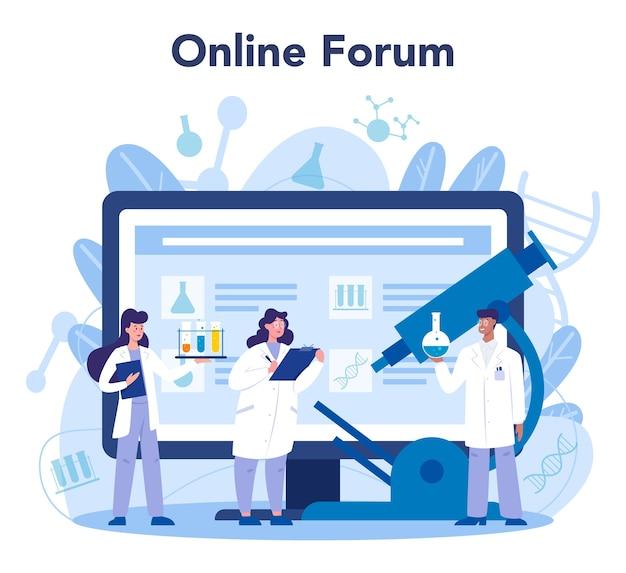 Scheikunde wetenschapper online service of platform. wetenschappelijk experiment in het laboratorium. online forum, geïsoleerde vectorillustratie in vlakke stijl